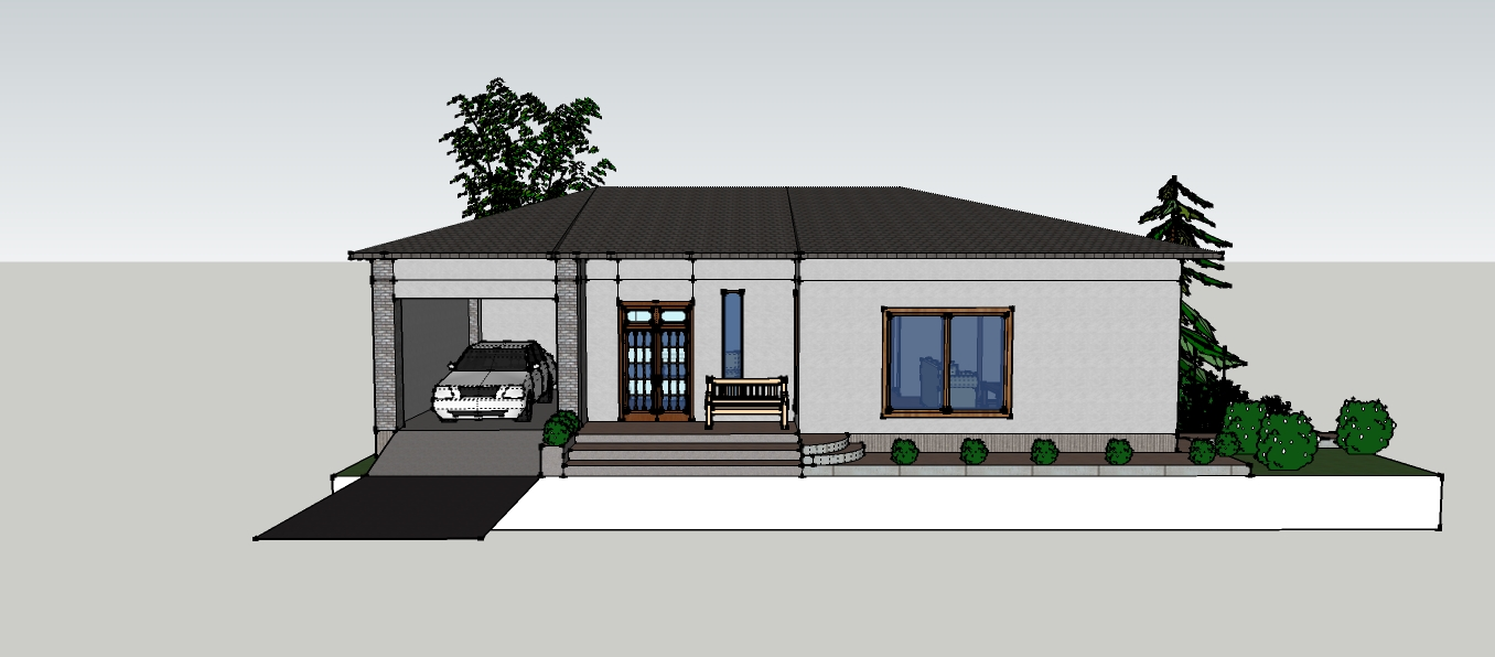 Small house front view imagining for Small frontage house designs